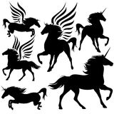 Magic horses vector. Set of fairytale horses silhouettes - pegasus and unicorns Royalty Free Stock Photos
