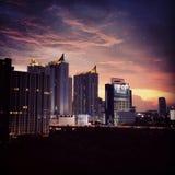 Magic hour. The evening sky around Pharam9 area of Bangkok Royalty Free Stock Photos