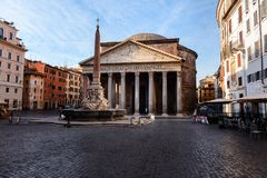 Travel to Italy: morning view on the Pantheon, Italy, Rome. Magic hour in Rome, travel to Italy: morning view on the Pantheon, Italy, Rome royalty free stock images