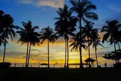Magic hour of tropical beach at Shangri La`s Tanjung Aru Resort and Spa Royalty Free Stock Photo
