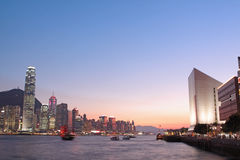 Magic hour of Victoria harbour Stock Photos