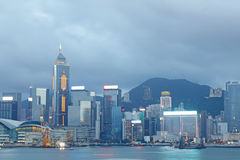 Magic hour of Victoria harbour Royalty Free Stock Photo