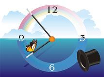 Magic Hours. Allegoric composition about time with rainbow, clock and pointers, a butterfly, a magician hat overlayded on to a sky and sea view Stock Image