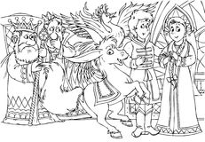 Magic humpbacked horse. Black-and-white illustration with the fairytale characters for a coloring book Royalty Free Stock Image