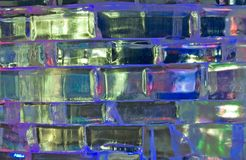 Magic ice. Ice figures covered by color light Royalty Free Stock Photography