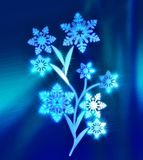 Magic ice flower with snowflakes instead of leaves. On a dark blue sparkling inhomogeneous basis Stock Photo