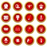Magic icon red circle set. Isolated on white background royalty free illustration