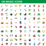 100 magic icons set, cartoon style Stock Image