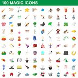 100 magic icons set, cartoon style. 100 magic icons set in cartoon style for any design illustration stock illustration