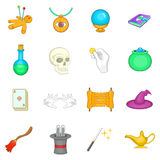 Magic icons set, cartoon style Stock Photography