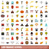 100 magic icons set, flat style Royalty Free Stock Image