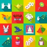 Magic icons set in flat style Stock Image