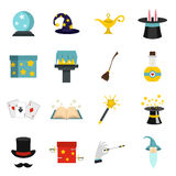 Magic icons set in flat style Royalty Free Stock Photo