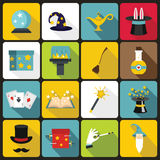 Magic icons set, flat style Royalty Free Stock Photography