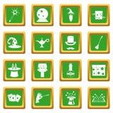 Magic icons set green Royalty Free Stock Photography