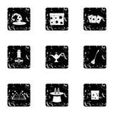 Magic icons set, grunge style. Magic icons set. Grunge illustration of 9 magic vector icons for web stock illustration