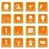 Magic icons set orange Stock Image