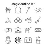 Magic icons set, outline style Royalty Free Stock Photography