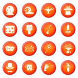 Magic icons set. Of red circles isolated on white background vector illustration