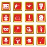 Magic icons set red Stock Photo