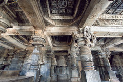 Magic of Indian architecture on example of 12th century stone temple Hoysaleswara with carvings, Karnataka of India. Royalty Free Stock Photo