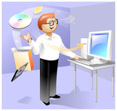 Magic install of software. This illustration about man who have great experience for remote install of new software... He making it in the work room royalty free illustration