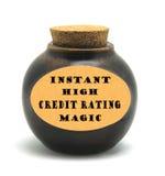 Magic for Instant high credit rating. Bottle holding Magic for Instant high credit rating stock images