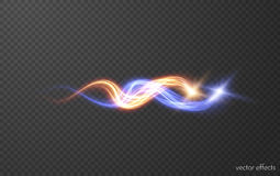Magic intertwining red and blue fireballs. Fire and ice concept. Vector eps10. Glowing magic blue and red fireballs with beautiful dust particle trail vector Royalty Free Stock Photo