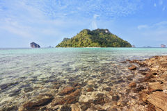 Magic Island near the rocky beach Royalty Free Stock Photography