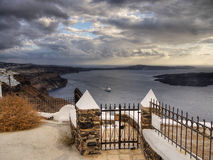 Magic Island Santorini Wallpaper Sea Terrace Scenic Greece Stock Photography