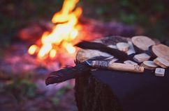 Magic items near the fire. stock image