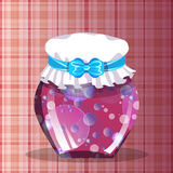 Magic jam in a glass jar with a white cap and blue ribbon. Checkered pink background. Vector illustration. Food, Conservation Royalty Free Stock Photo