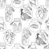 Magic jars seamless pattern. Magic black and white jars seamless pattern. Fairytale eye, crystals gemstones, wings of butterfly and rose flower inside. Vector royalty free illustration