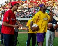 Magic Johnson en Michael Carter-Williams Royalty-vrije Stock Foto's