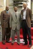 "Kareem Abdul Jabbar, Kareem Abdul-Jabbar, Kobe Bryant, Magic Johnson, Jerry Buss, ""magisches"" Johnson Stockfotografie"