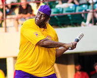 Magic Johnson at the plate. Royalty Free Stock Photo