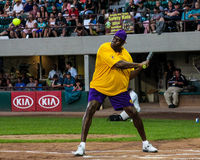 Magic Johnson playing softball Stock Photos