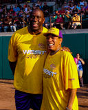 Magic Johnson and Smokey Robinson. Stock Photos