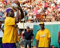 Magic Johnson taking a foul shot. Stock Photo