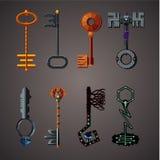 Cartoon vector keys set. Vintage vector icon. Fantasy assets. Game design concept for gui. Cartoon vector keys set. Vintage vector icon. Game design concept for royalty free illustration