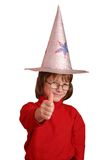 Magic Kid. Cute girl with a hand made magician hat Royalty Free Stock Image