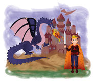 Magic king and dragon Royalty Free Stock Photography