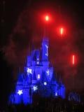 Magic Kingdom Castle. ORLANDO, FLORIDA - February 19, 2013 - The Walt Disney World Cinderella Castle in Magic Kingdom lit up and with fireworks Royalty Free Stock Images