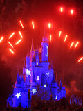 Magic Kingdom Castle. ORLANDO, FLORIDA - February 19, 2013 - The Walt Disney World Cinderella Castle in Magic Kingdom lit up and with fireworks Royalty Free Stock Photos