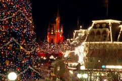 Magic Kingdom decorated for Christmas Stock Photo