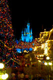 Magic Kingdom decorated for Christmas Royalty Free Stock Photos