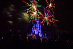 Magic Kingdom fireworks 2. Image of the Magic Kingdom Park castle with fireworks in the background Stock Photos