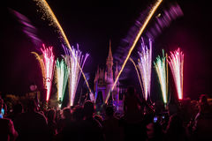 Magic Kingdom fireworks 3. Image of the Magic Kingdom Park castle with fireworks in the background Royalty Free Stock Photo