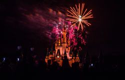 Magic Kingdom fireworks 5. Image of the Magic Kingdom Park castle with fireworks in the background Stock Photos