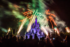 Magic Kingdom fireworks 8. Image of the Magic Kingdom Park castle with fireworks in the background Royalty Free Stock Photos